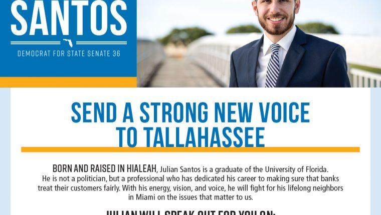 Julian Santos Florida Senate Campaign Collateral