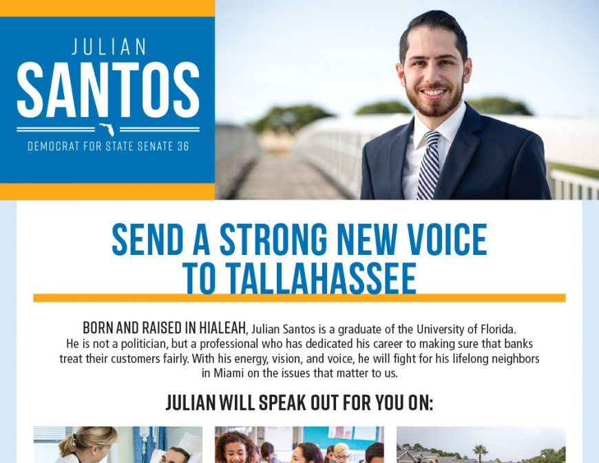 Julian Santos Florida Senate Campaign Collateral